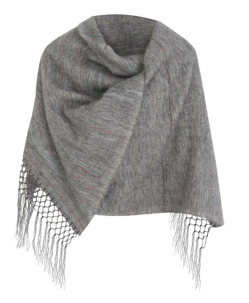 Chal de lana mohair en gris