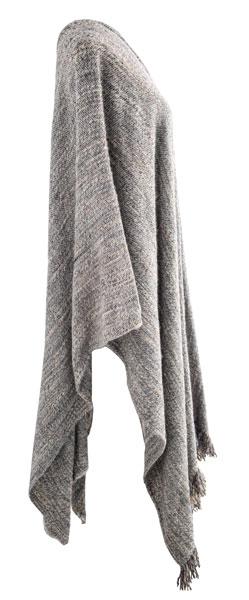 Poncho de lana en color gris.
