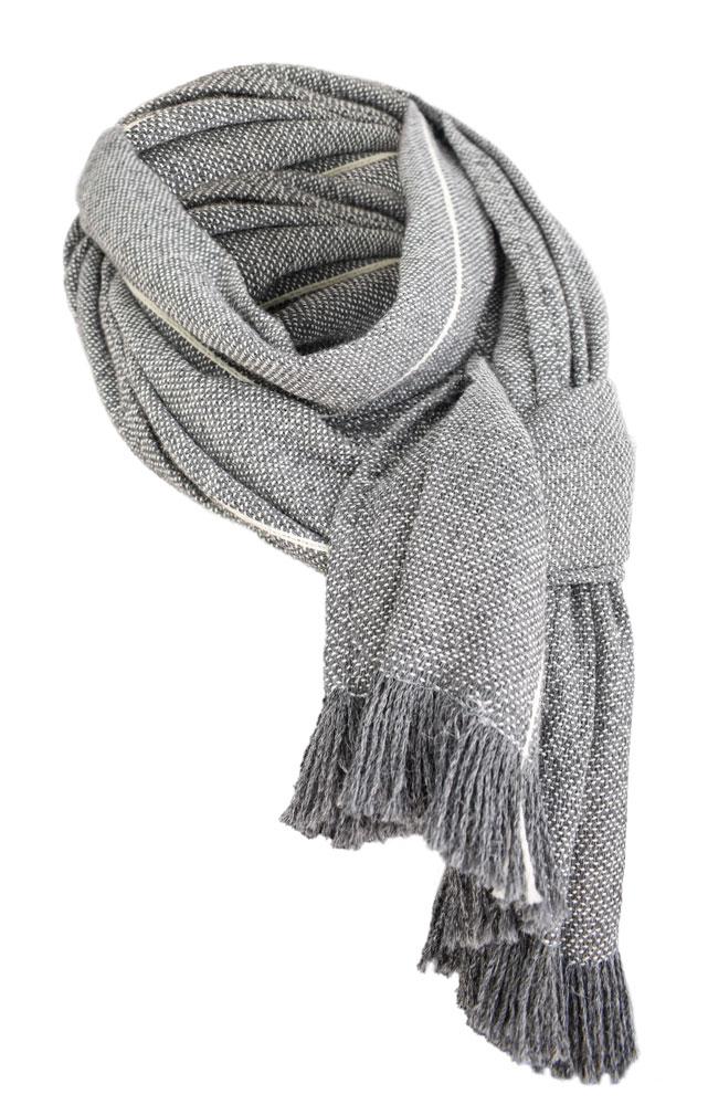 Bufanda de lana en blanco y negro.
